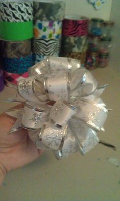 Fluff the other side. Bows For Presents, Ribbon Bow Tutorial, Wired Ribbon, Ribbon Bows, Christmas Bows, Christmas Time, Christmas Crafts, Christmas Ideas, Ribbon Decorations