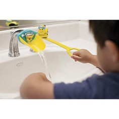 Aqueduck Handle Extender: I can turn on the water myself! With Aqueduck's ingenious faucet handle extender, kids can wash their hands without help. Kids simply pull its circular grip to turn the water on, then push on it when they're done.