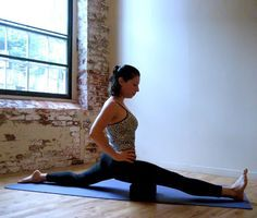 Before trying out a full split, doing this stretch with a block is a great way to ease into it.   Sit on a ...