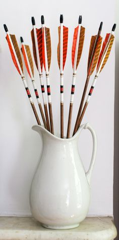 Vintage Wood Archery Arrows, Pair of 2, Orange, Gold, Black, White Wooden Need these to hang in Grey's nursery!!!