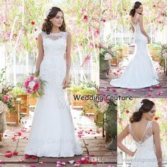 Wholesale Pageant Dress - Buy Factory Custom Make Illusion Sheer Lace Neckline Romantic Mermaid Wedding Dresses, $160.79 | DHgate