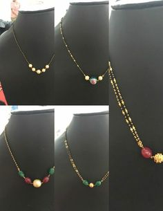 22 carat gold light weight short black beads mangalsutra chains adorned with rub… - Perlen Schmuck Bead Jewellery, Beaded Jewelry, Beaded Necklace, Gold Jewelry, Temple Jewellery, Gold Necklace, Gold Mangalsutra Designs, Gold Earrings Designs, Gold Designs