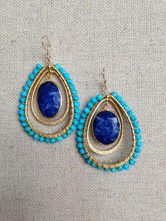 Turquoise Beaded Dangle Earrings with Lapis Drop by Goldenstrand Jewelry, www.goldenstrandjewelry.com