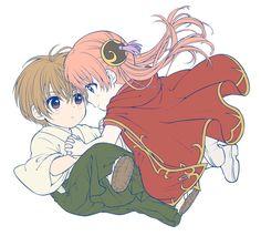 Sougo Okita and Kagura Romantic Anime Couples, Romantic Manga, Anime Couples Manga, Cute Anime Couples, Manga Art, Manga Anime, Anime Art, Kawaii Anime, Gintama