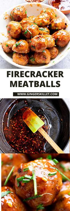 Spicy Chicken Meatballs aka Firecracker meatballs recipe with step-by-step instructions. These spicy and sweet twice-baked chicken meatballs are super easy to make and tastes delicious as an appetizer or in a meal! Side Dish Recipes, Meat Recipes, Appetizer Recipes, Dinner Recipes, Healthy Recipes, Baked Chicken Meatballs, Chicken Meatball Recipes, Firecracker Meatballs, High Protein Recipes