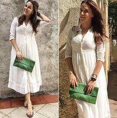 Neha Dhupia # love for whites # casual day look # Indian fashion tunic Trendy Dresses, Modest Dresses, Nice Dresses, Casual Dresses, Trendy Outfits, Western Dresses, Indian Dresses, Indian Outfits, Western Wear