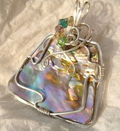 Abalone Pendant Shell Wire Wrapped Medium in Sterling Silver Solid Argentium Anti-tarnish 930, $45.0