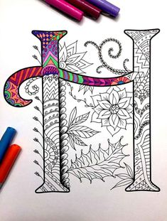 8.5x11 PDF coloring page of the uppercase letter H - inspired by the font Harrington Fun for all ages. Relieve stress, or just relax and have fun using your favorite colored pencils, pens, watercolors, paint, pastels, or crayons. Print on card-stock paper or other thick paper (recommended). Original art by Devyn Brewer (DJPenscript). For personal use only. Please do not reproduce or sell this item.