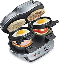Its all about making fresh breakfast sandwiches you can grab and go. In five minutes or less, two perfectly assembled breakfast sandwiches are ready to eat. You can customize each of your breakfast sandwiches with a variety of fresh ingredients. Sandwich Toaster, Cooking Appliances, Specialty Appliances, Kitchen Appliances, Small Appliances, Brunch, Food Storage, Storage Organization, Breakfast Sandwich Maker