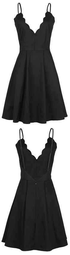 A cute little black dress to get with $23.99&7 Days Only! This A-line slip dress is detailed with plunging neckline, ruffle&open back design. Fall in this sweetest dream with Cupshe.com