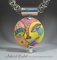Picasso III- Art Glass 37mm Focal bead- lampwork by Astrid Riedel