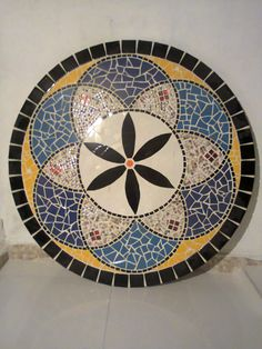 mandala decorativa em mosaico pastilhas 80 cm
