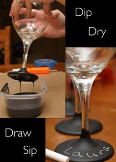 Dip the stems in chalkboard paint.Wine Glass DIY ~ Dip the stems in chalkboard paint.Chalkboard dipped wine glasses allows you to add the name who is using .Chalkboard dipped wine glasses allows you to Craft Gifts, Diy Gifts, Ideias Diy, Chalkboard Paint, Chalk Paint, Chalkboard Fabric, Blog Deco, Partys, Wine Charms