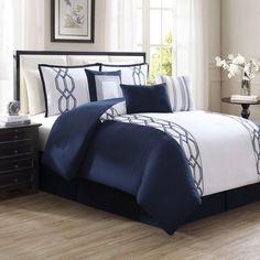 Luxury Bedding Sets On Sale Info: 7298265860 Bedroom Comforter Sets, Blue Comforter Sets, Luxury Bedding Sets, Modern Bedding, Queen Bedding Sets, Black Bedding, Blue Bedroom, Master Bedroom, Bedroom Decor