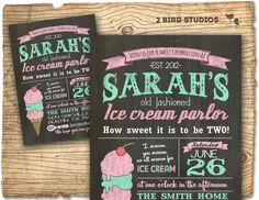Ice cream invitation chalkboard ice cream party by 2birdstudios