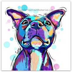 Pit Bull art print by CartoonYourMemories on Etsy