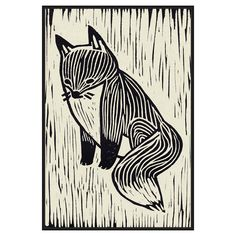 The black and white linear depiction of the PTM Images Fox Linocut Framed Canvas Wall Art is printed on canvas and accented by hand-embellished details. Original Paintings, Canvas Prints, Woodcut Art, Linocut, Framed Canvas Wall Art, Painting, Fox Wall Art, Art, Canvas Art