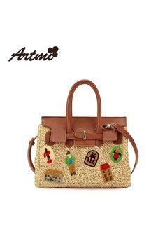 08c6f302786f3 Beige pattern handbag modern design with brown leather details for more  elegance
