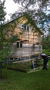 Preparing a southern Finland home for new siding. Finland, Home Remodeling, Southern, Cabin, House Styles, Places, Cabins, Cottage, Wooden Houses