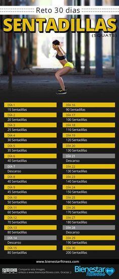 reto sentadillas de 30 días  Reto fitness de sentadillas de 30 dias. http://www.bienestarfitness.com/fitness/reto-sentadillas-30-dias/  #retofitness30dias #reto30dias #fitness #sentsadillas