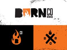 Creative bbq fire logo Burn Co. BBQ by Trey Thaxton