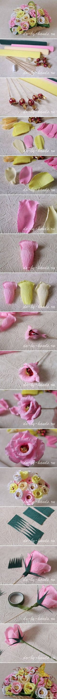 DIY Paper Roses with Candy.... chocolate bouquet like this would be awesome