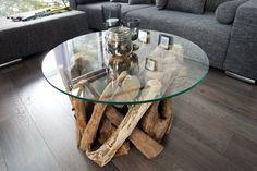 Design Couchtisch NATURE LOUNGE Teakholz mit runder Glasplatte Beistelltisch: Amazon.de: Küche & Haushalt