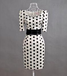 50er Rockabilly Stift Kleid weiß schwarz Punkte