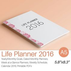 2016 PLANNER A5 Printable 2016 Filofax A5 von EasyLifePlanners