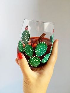 Prickly Cactus Hand Painted Wine Glass Source by etsy Wine Glass Crafts, Wine Craft, Wine Bottle Crafts, Wine Bottles, Diy Wine Glasses, Hand Painted Wine Glasses, Painting On Wine Glasses, Bottle Painting, Bottle Art