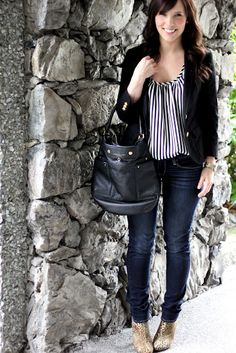 Vertical stripped shirt - very chic
