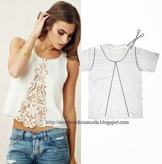 Moda e Dicas de Costura: RECICLAGEM DE CAMISAS E T-SHIRTS - 2 Diy Lace Tshirt, Diy Lace Tank Top, Old T Shirt Diy, Diy Old Tshirts, Old Shirts, T Shirt Redo, T Shirt Refashion, Diy Clothes Refashion, T Shirt Redesign