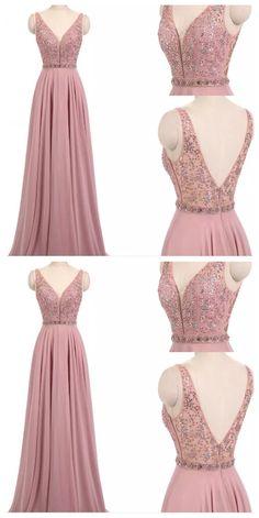 Charming A-Line V-Neck Chiffon Prom Dresses,Sleeveless Beading Prom Dresses CR 7961 - evening dress Grad Dresses, Evening Dresses, Bridesmaid Dresses, Wedding Dresses, Prom Dress, Prom Gowns, Dress Long, Chiffon Dresses, Fall Dresses