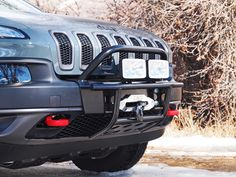 Bumper and winch kits for your Jeep Cherokee or Trailhawk, The Rocky Road hidden winch mount is the best winch solution anywhere for your Jeep Cherokee. Bumpers can also be used with no winch mounting Jeep Cherokee Bumpers, Lifted Jeep Cherokee, 2016 Jeep Cherokee Trailhawk, Jeep Trailhawk, Jeep Mods, Jeep Suv, Jeep Grand Cherokee Accessories, Custom Jeep, Jeep Liberty