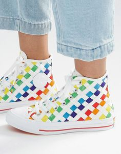 Image 1 of Converse Pride Rainbow Woven Chuck Ii High Top Trainers