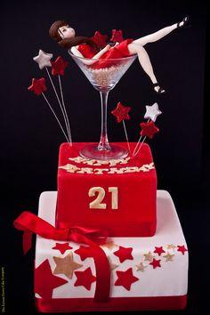 Birthday Cake: birthday -girl in martini glass. - The Lemon Grove Cake Company, Cake Shop, Morayfield, QLD, 4506 - TrueLocal 40th Birthday Cake For Women, 21st Birthday Cupcakes, 21st Cake, Happy Birthday Cakes, Birthday Ideas, 70 Birthday, Frozen Birthday, Birthday Cake Decorating, Girl Cakes