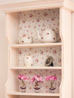 "Take an old wall unit, give it a lick of paint and achieve a shabby chic look by sticking some d-c-fix mini floral ""sunflor"" to the back panel to add design and interest and a touch of creativity!"