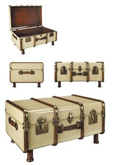 Infuse your home with timeless design by using the Stateroom Trunk Table, Ivory from Authentic Models. Trunk Table, A Table, Nautilus, Accent Furniture, Diy Furniture, Trunk Furniture, Nautical Furniture, Furniture Makeover, Painted Furniture
