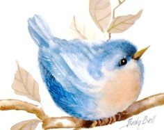 Nursery Blue Bird Art Print - Whimsical Bird Watercolor Painting