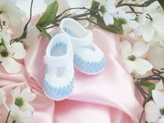 Blue and White Mary Jane Crocheted Booties - interwoven ribbon