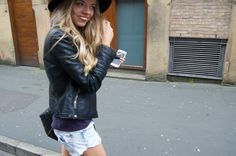 Casual weekend outfit denim shorts, fedora, leather jacket on The Monochromes