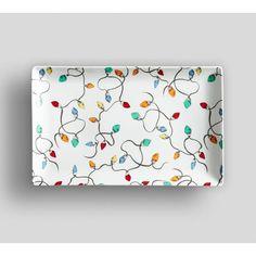 Pottery Barn Christmas Lights Rectangle Platter ($32) ❤ liked on Polyvore featuring home, kitchen & dining, serveware, porcelain platter, white rectangular platter, rectangle platter, white xmas lights and white porcelain platter