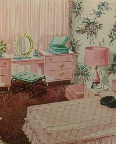 1950s Bedroom Decor Mid Century House Interior Design Furniture