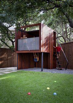 modern tigerwood tree house