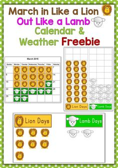 """Does the saying """"March comes in like a lion and goes out like a lamb"""" hold true this year? Find out with this cute free graphing activity! Keep track of """"lion days"""" and """"lamb days"""" during the month of March with the provided lion and lamb markers and graphing / calendar activities. https://www.teacherspayteachers.com/Product/March-In-Like-a-Lion-Out-Like-a-Lamb-Calendar-Weather-Activity-1727012"""