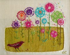 flower embroidery by Liz Cooksey