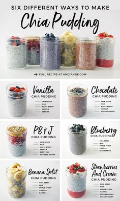 Six Healthy Chia Pudding Recipes. Meal prep just got easier with this collection of 6 simple, delicious and healthy chia pudding recipes! Perfect for on-the-go, these recipes won't disappoint! Good Healthy Recipes, Healthy Meal Prep, Healthy Breakfast Recipes, Healthy Breakfasts, Oat Meal Breakfast, Flax Seed Recipes Breakfast, Delicious Smoothie Recipes, Heathy Lunch Ideas, How To Eat Healthy
