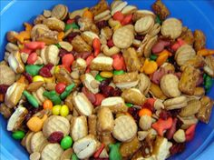 "Make before leaving and put in small baggies for easy grab when need snack...Kiddos Favorite Trail Mix from Food.com: Easy, nutritious, keeps for a long time (in a sealed container), easily ""tweaked"" to fit your personal tastes. A REAL kid-pleaser."