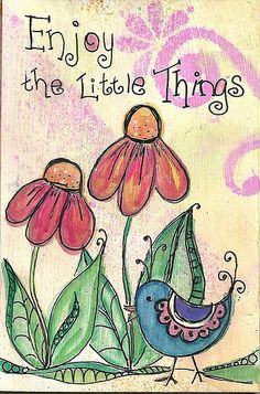minijournal little things Folk Art Flowers, Flower Art, Art Drawings For Kids, Art For Kids, Art Journal Pages, Art Journaling, Happy Paintings, Cool Writing, Bible Art