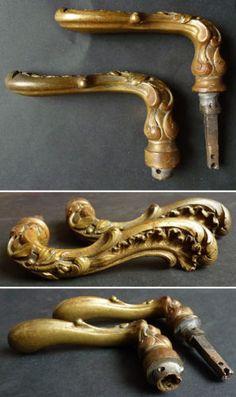 2 Poignees De Porte En Bronze Dore Louis XV Anciennes
